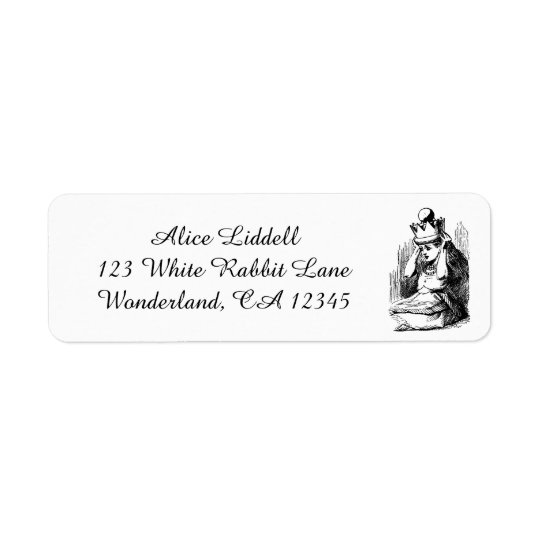 Vintage Alice in Wonderland, Alice as the Queen Return Address Label