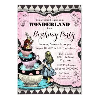 "Vintage Alice in Wonderland Birthday Party 5"" X 7"" Invitation Card"