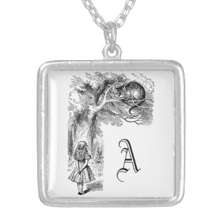 Vintage Alice in Wonderland, Cheshire Cat Silver Plated Necklace