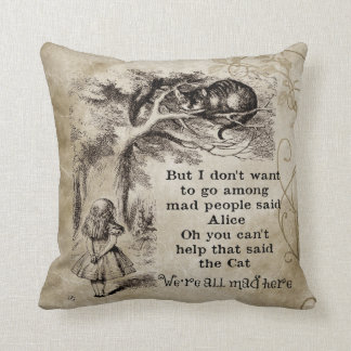 Vintage Alice In Wonderland Cheshire Cat Throw Pillow