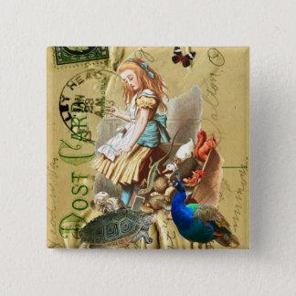 Vintage Alice in Wonderland collage 2 Inch Square Button