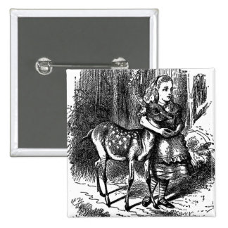 Vintage Alice in Wonderland deer fawn bambi print 2 Inch Square Button