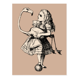Vintage Alice in Wonderland Flamingo Postcard