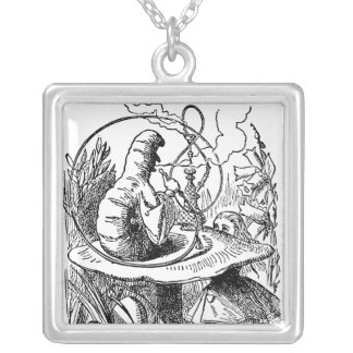 Vintage Alice in Wonderland Hookah Caterpillar Silver Plated Necklace