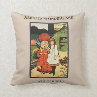 Vintage Alice in Wonderland Lewis Carroll book Throw Pillow