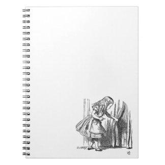 Vintage Alice in Wonderland looking for the door Spiral Notebooks