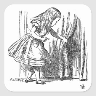 Vintage Alice in Wonderland looking for the door Square Sticker