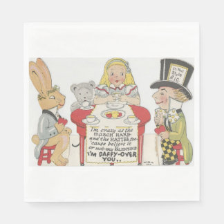Vintage Alice In Wonderland Mad Tea Party Disposable Napkins