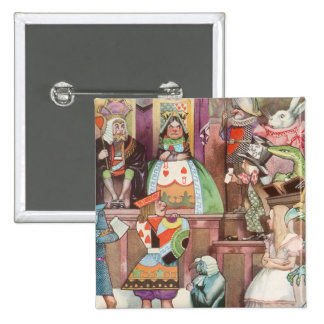 Vintage Alice in Wonderland, Queen of Hearts 2 Inch Square Button