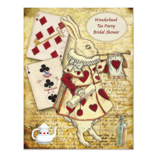 "Vintage Alice in Wonderland Rabbit Bridal Shower 4.25"" X 5.5"" Invitation Card"