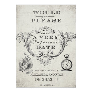 "Vintage Alice in Wonderland Save the Date 5"" X 7"" Invitation Card"