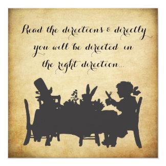 "Vintage Alice in Wonderland Tea Party Birthday 5.25"" Square Invitation Card"