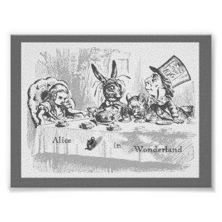 Vintage Alice in Wonderland Tea Party Poster