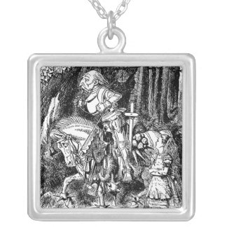 Vintage Alice in Wonderland White Knight on Horse Silver Plated Necklace