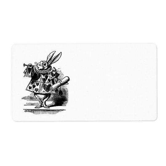 Vintage Alice in Wonderland White Rabbit as Herald Shipping Label