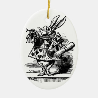 Vintage Alice in Wonderland, White Rabbit Ceramic Ornament