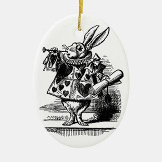 Vintage Alice in Wonderland, White Rabbit Ceramic Oval Ornament