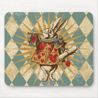 Vintage Alice White Rabbit Mouse Pad