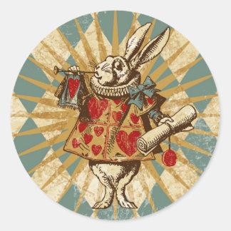 Vintage Alice White Rabbit Round Sticker
