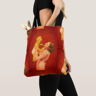 Vintage Alien Child And Mother All Over Print Tote