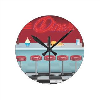 Vintage All American Diner Round Clock