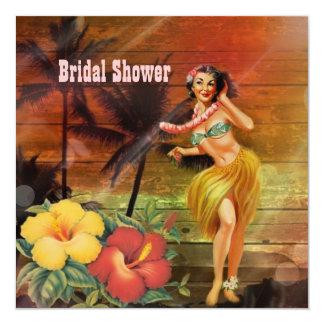 "vintage aloha hula Girl hawaii beach bridal shower 5.25"" Square Invitation Card"