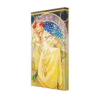 Vintage Alphonse Mucha Artwork Canvas Print
