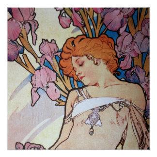 Vintage alphonse Mucha goddess Art nouveau Perfect Poster