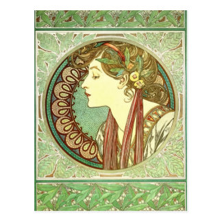 Vintage Alphonse Mucha Laurel GalleryHD Postcard
