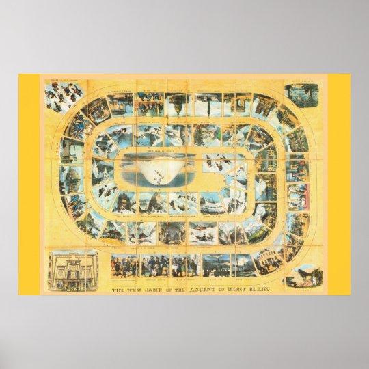 "Vintage alpine game board, ""Ascent of  Mt Blanc"" Poster"