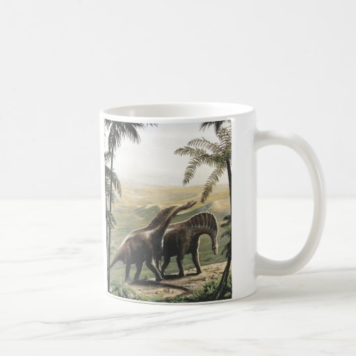 Vintage Amargasaurus Dinosaurs with Trees Coffee Mugs
