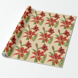 Vintage Amaryllis Christmas Cheer (Lg. Image) Wrapping Paper