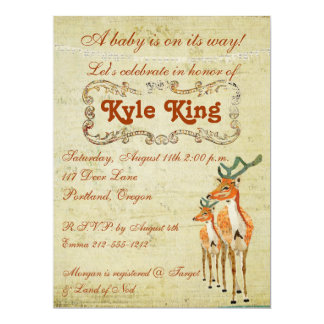 Vintage Amber Bucks Baby Invitation
