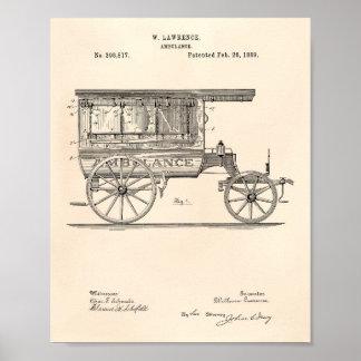 Vintage Ambulance 1889 Patent Art Old Peper Poster