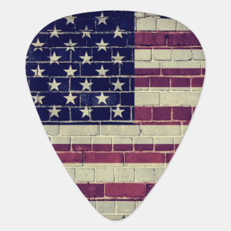 Vintage America flag on a brick wall Guitar Pick