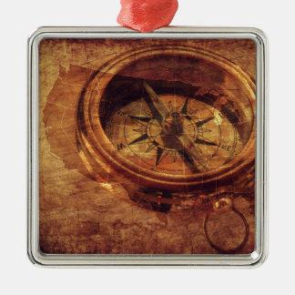 Vintage American Compass Metal Ornament