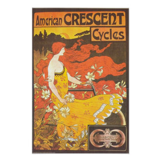 Vintage American Crescent Cycles Ad - GORGEOUS Poster