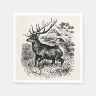 Vintage American Elk Personalized Old Illustration Disposable Napkins