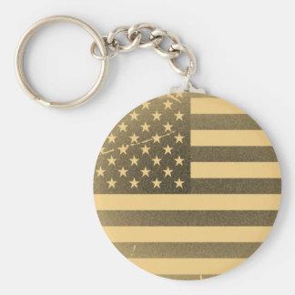 Vintage American Flag Basic Round Button Keychain