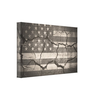 Vintage American Flag Cracked Wall Canvas Print