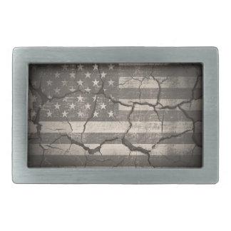 Vintage American Flag Cracked Wall Rectangular Belt Buckles