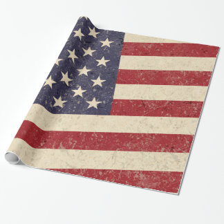 Vintage American Flag Distressed Effect Wrapping Paper