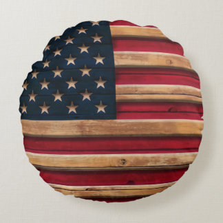 Vintage American Flag Distressed Wood Design Round Pillow