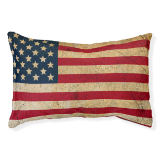Vintage American Flag Dog Bed Small Dog Bed