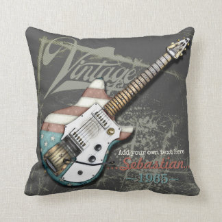 Vintage American Flag Electric Guitar Illustration Throw Pillow