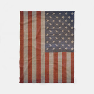 Vintage American Flag Fleece Blanket