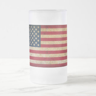 Vintage American Flag Frosted Glass Mug