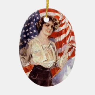 vintage american flag girl ceramic ornament