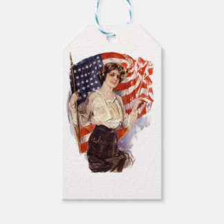 vintage american flag girl gift tags