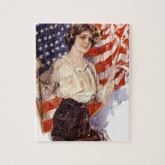 vintage american flag girl jigsaw puzzle
